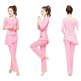 秋冬舞蹈瑜珈服运动套装女款三件套莫代尔纯棉斜边裙裤显瘦健身服