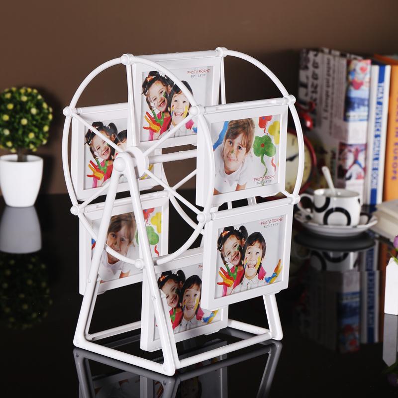 現代簡約摩天輪相框擺台5寸7寸旋轉大風車創意相片框兒童組合相架