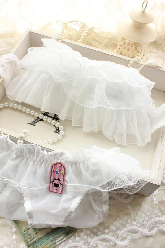 Японский милые девушки sweet сексуальная трубки верхней белый бюстгальтер принцесса регулировка положить белье бюстгальтер набор