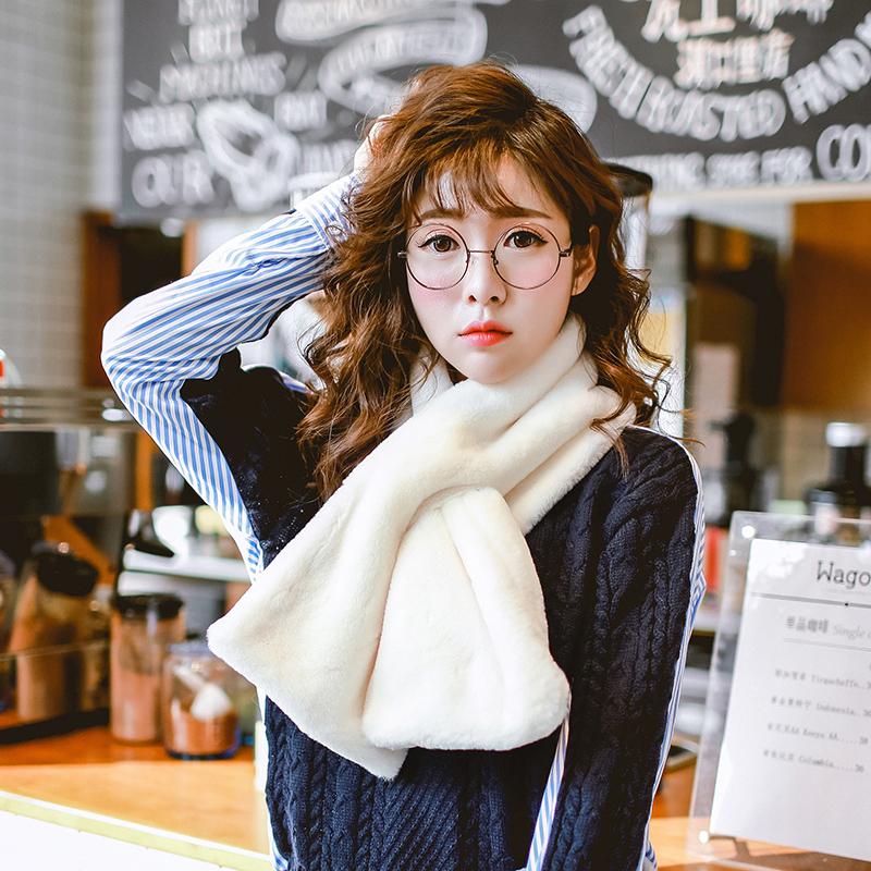 獺兔毛圍巾女 韓國交叉毛絨圍脖套頭皮草披肩假領子 天