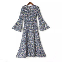 K69 buckles cardigan completely see-through horn sleeve Vatican violet printing super-long and ankle restoring ancient ways of tall waist skirt
