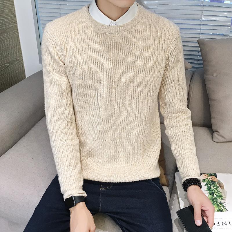 純色男士 英倫圓領毛衣