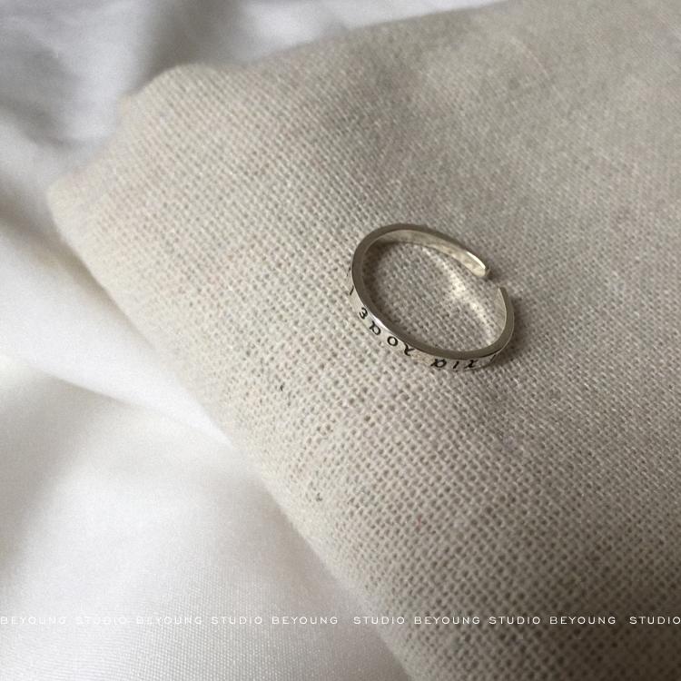 【别样】原创CHIC复古希腊字母纯银戒指泰银开口戒指女S143