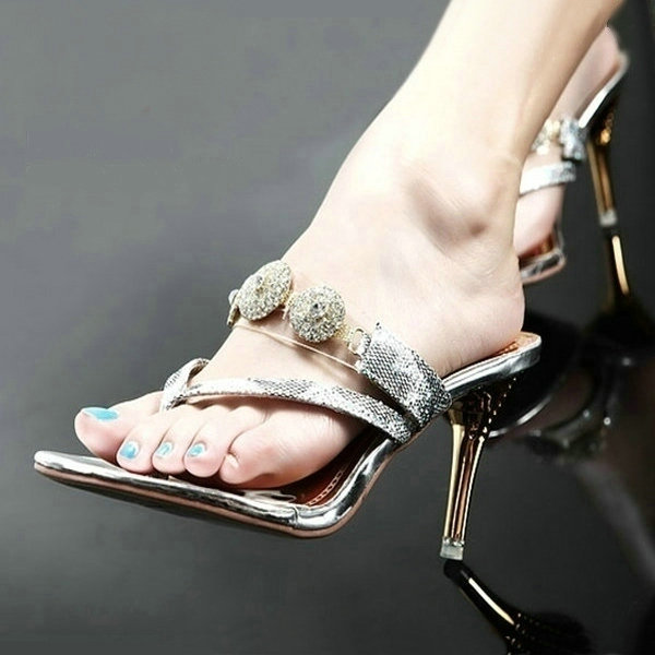Europe and the United States new summer sexy womens shoes clip toe sandals womens high heel clip foot slim heel comfortable water diamond herringbone sandals