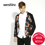 2015 New West Europe and America long sleeve jackets fall/winter fashion trend printed stitching men's Hoodie jacket