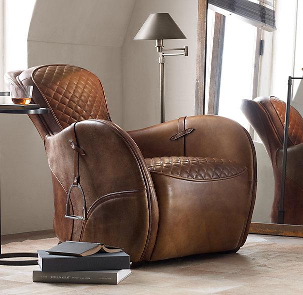 法式乡村复古家具真皮马镫单人沙发 欧式时尚住宅皮艺休闲沙发凳