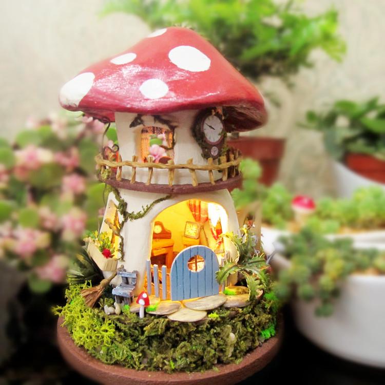 DIY стеклянный дом эльф dream дом серии Красный гриб семинар творческой ручной сборки модели