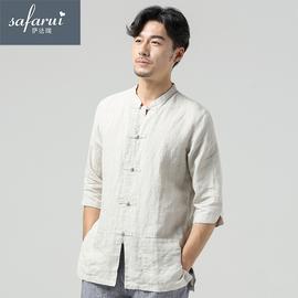 萨法瑞夏季中国风男装亚麻七分袖衬衫男立领复古中式盘扣棉麻上衣
