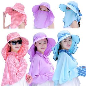 帽子披肩女士夏天大帽檐遮阳帽遮脸防晒防紫外线采茶帽户外骑车帽