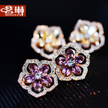Quality goods by Austrian crystal elements five crystal crystal stud earrings Female temperament of earrings allergy free accessories