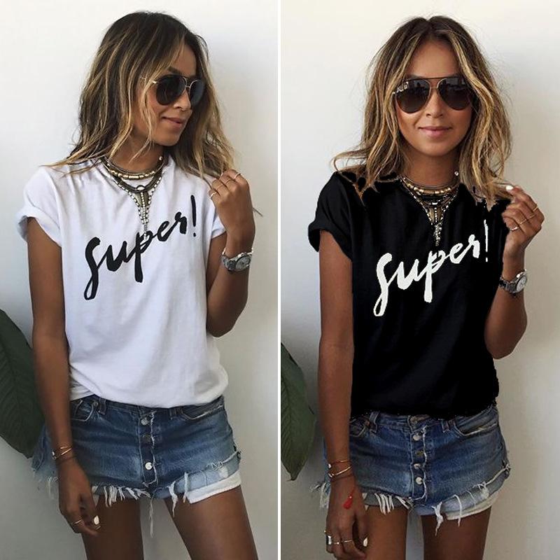 Скорость 2016 Летние корейской версии женщин в Европе и летние платья в черно-белом письмо футболка с короткими рукавами 8076