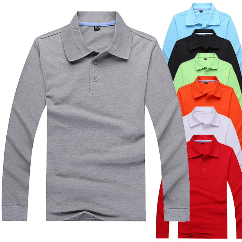 Lapel mens and womens long sleeve T-shirt polo shirt solid color loose sportswear work clothes volunteer T-shirt customization