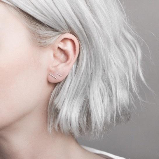 Twinstyle925銀線條一字耳釘文藝氣質簡約耳環女耳飾百搭潮日韓國