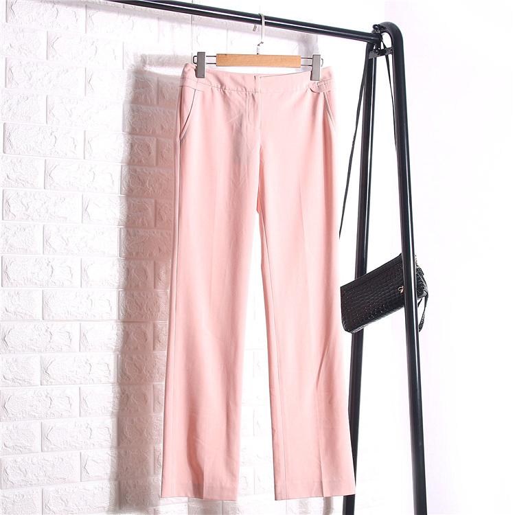 城系列春季女士女装简约时尚口袋休闲百搭宽松长裤1X384
