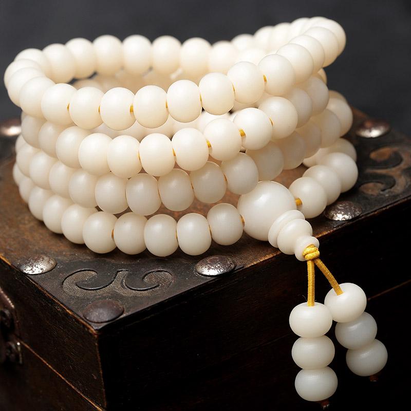 白玉菩提根高密天然順白手鏈散珠手串毛衣項鏈 素珠佛珠108顆