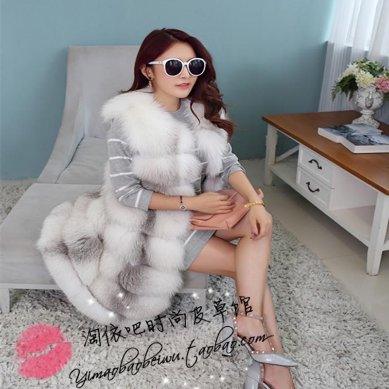 Европе новые меховые пальто Фокс меха длинный жилет мех лисицы Fox Фокс чернобурка Жилет Пальто