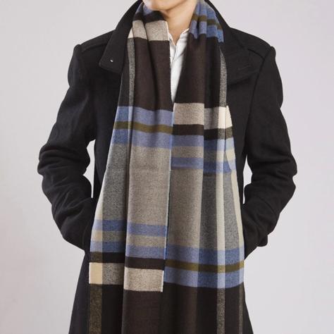 韩版商务格子条纹毛线围巾