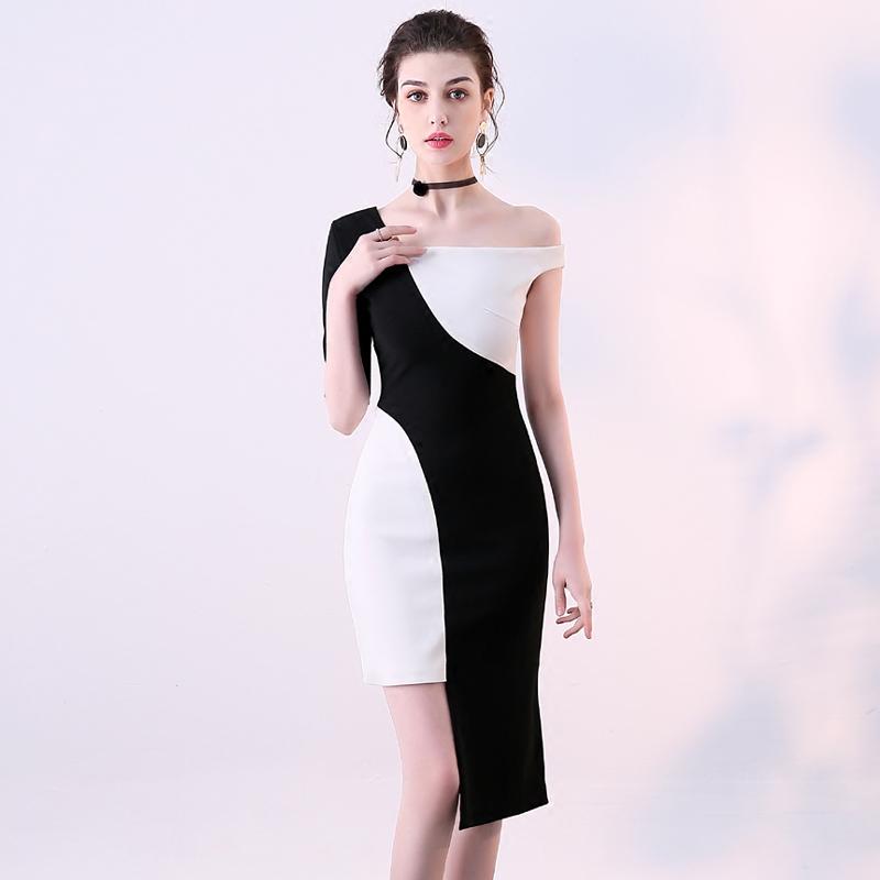 晚装礼服裙2018新款黑白修身时尚主持酒会晚宴派对小礼服连衣裙女