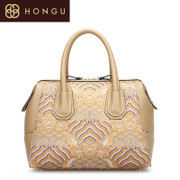 Honggu Hong Gu 2015 counters authentic new Chinese style fashion casual leather ladies hand bag 5895