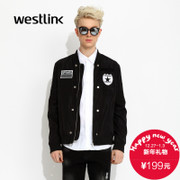 Westlink/West fall 2015 new color collage badge Zip Jacket casual men's jackets