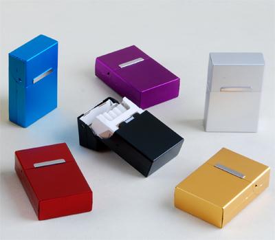 Ультра-тонкий 20 творческих металл автоматические эластичные покрытия алюминия магнит индукции пачек сигарет