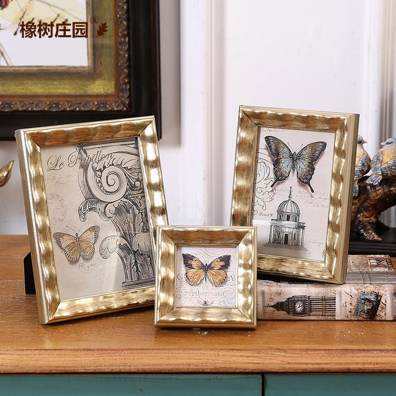 橡樹莊園 歐式蝴蝶金色實木相框擺台 3寸6寸7寸床頭相框 擺設