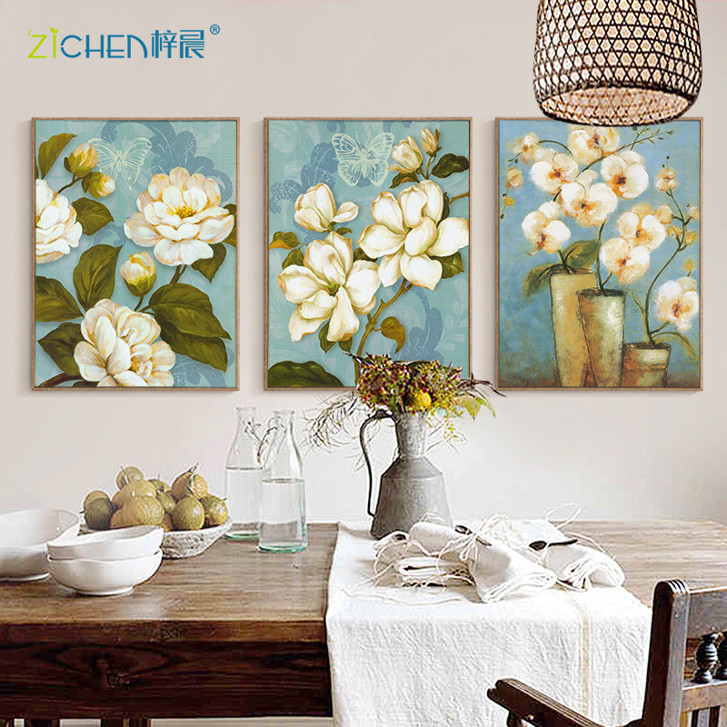 Магазин фреска тройной живопись гостиная вход спальня прикроватный декоративный живопись диван фон стена современный простой картины
