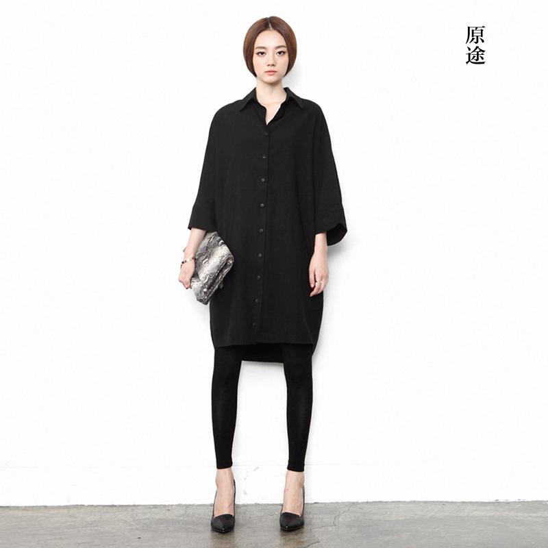 原创设计师女装品牌春秋黑色衬衫小众中长款外套显瘦个性宽松开衫