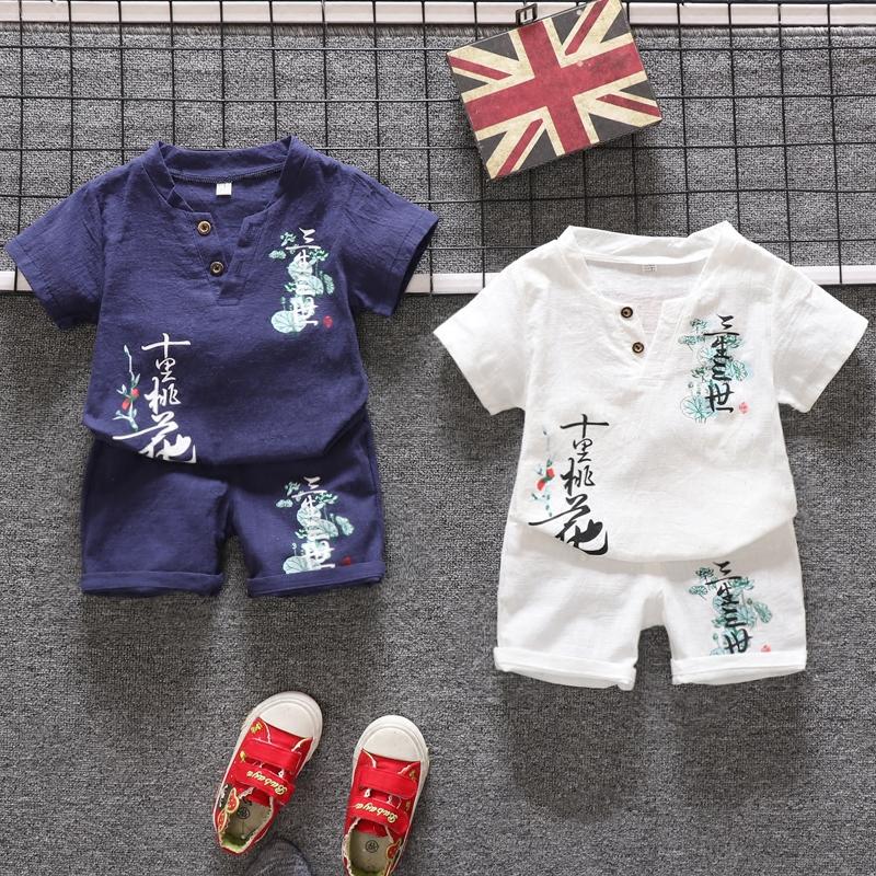男童唐装夏装短袖夏季童装男宝宝婴儿童棉麻国学服汉服套装中国风