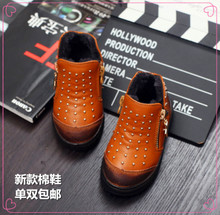 The new winter 2015 leather cotton shoes the 1-2-3 - year - old boy cotton shoes rivets tide warm soft bottom shoes of the girls
