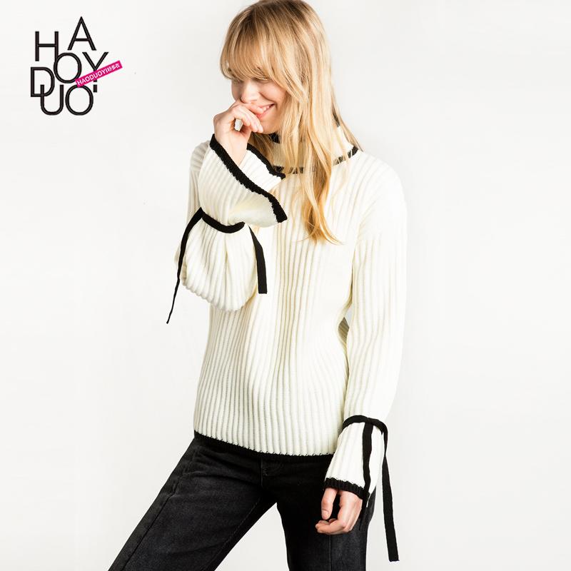 出口品牌折扣丹麦英国单女装  甜美学院风时尚撞色宽松长袖女毛衣