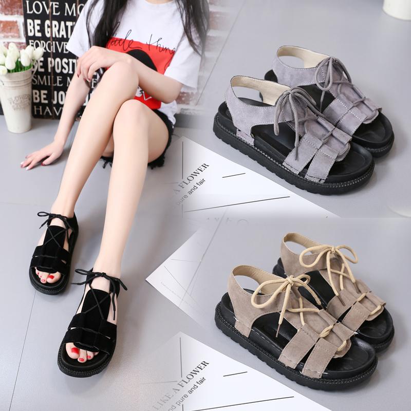 Корея толстая корка песчаный пляж обувной квартира рим дикий сандалии женщина новый 2017 квартира лето студент обувь женская волна