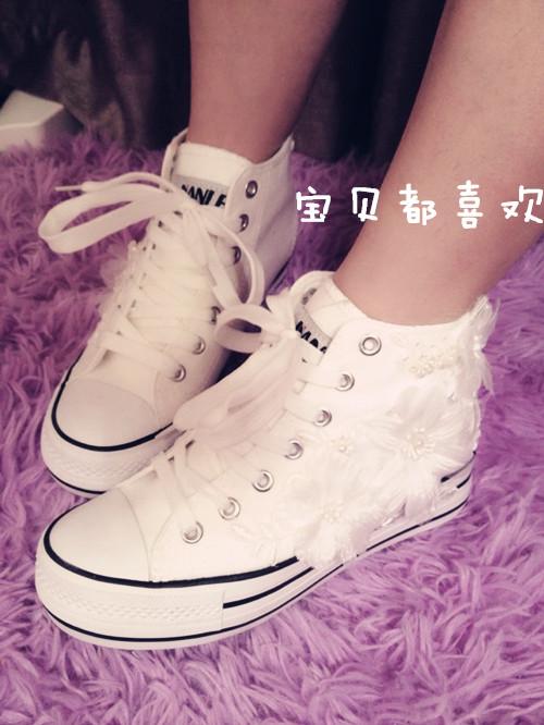 手工原创 亲子蕾丝花边厚底松糕高帮鞋 珍珠花朵内增高女鞋帆布鞋