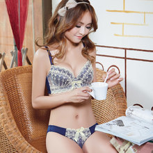 8b443b2220 Moon butterfly Ms embroidery together girl bra set briefs mold cup  underwear bra Japanese thin model