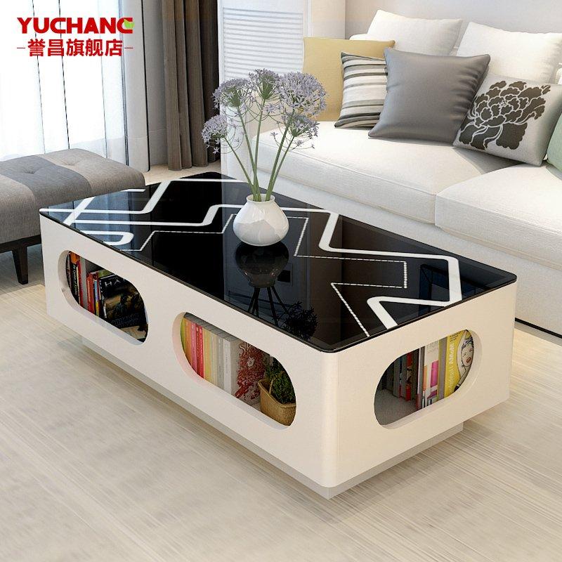 黑白茶幾電視櫃 簡約鋼化玻璃烤漆小戶型客廳茶桌