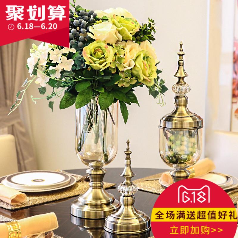 新古典歐式樣板間樣板房家居裝飾品客廳 玻璃仿真花瓶工藝品擺件