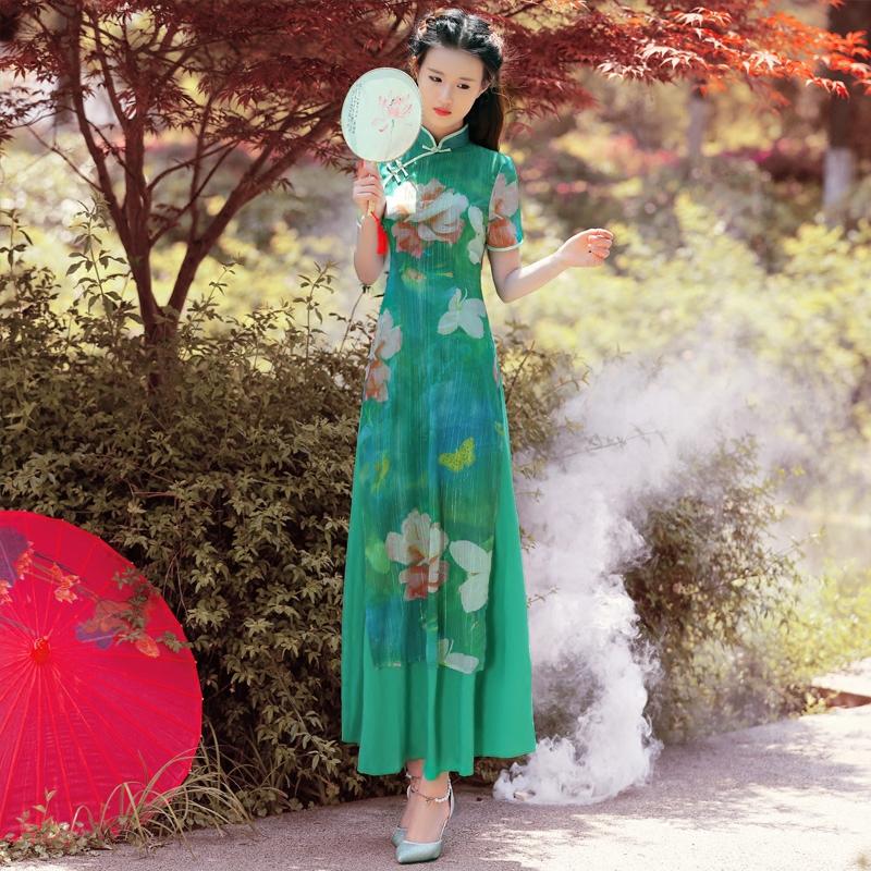 依莱娜年会礼仪旗袍连衣裙改良版旗袍旗袍女长款优雅越南奥黛旗袍