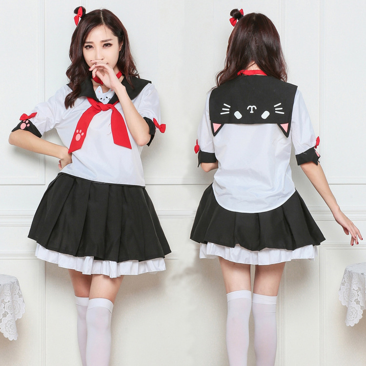 Runaway cat cute students little devil meow print improved JK uniform girls summer clothes in stock