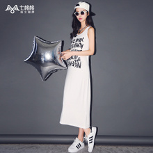 Seven vanquish a new letter printed vest skirt in the summer of 2015 Condole belt of cultivate one's morality dress
