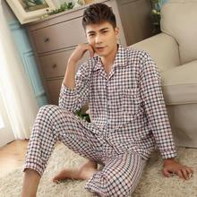 Paragraphs male silk pajamas summer Pure cotton silk long summer The elderly man leisurewear summer thin model