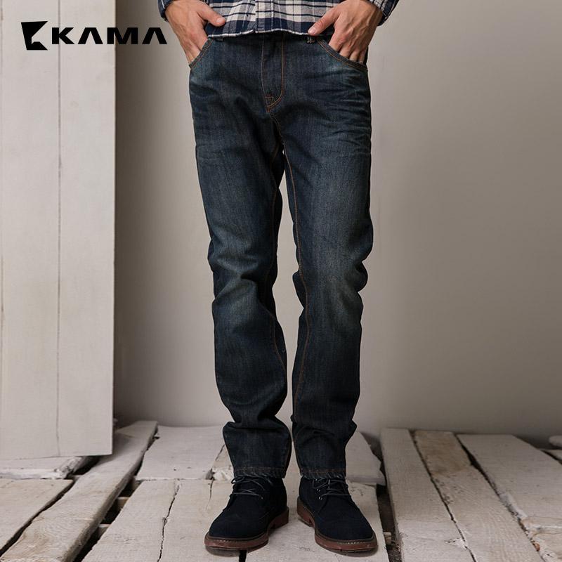 卡瑪KAMA 冬裝 男裝青年合體直筒純棉牛仔長褲子 2415328
