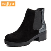 Safiya/Sophia 2015 winter new style leather colour matching thick round head short boots with velvet SF5411X126