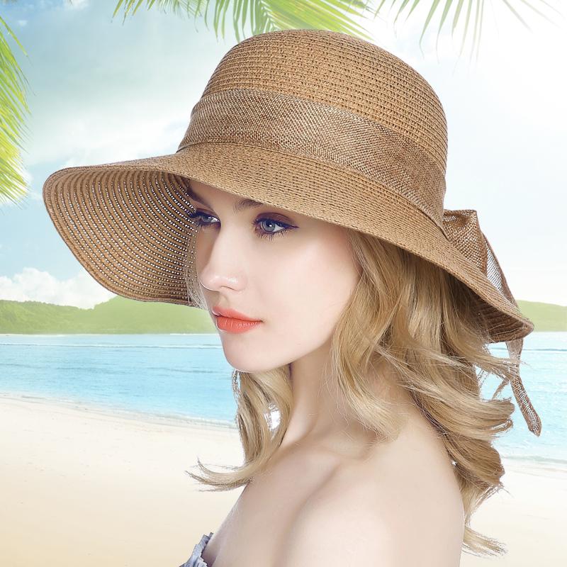 帽子女夏天蝴蝶結草帽 遮陽帽 可折疊太陽帽防曬沙灘帽涼帽