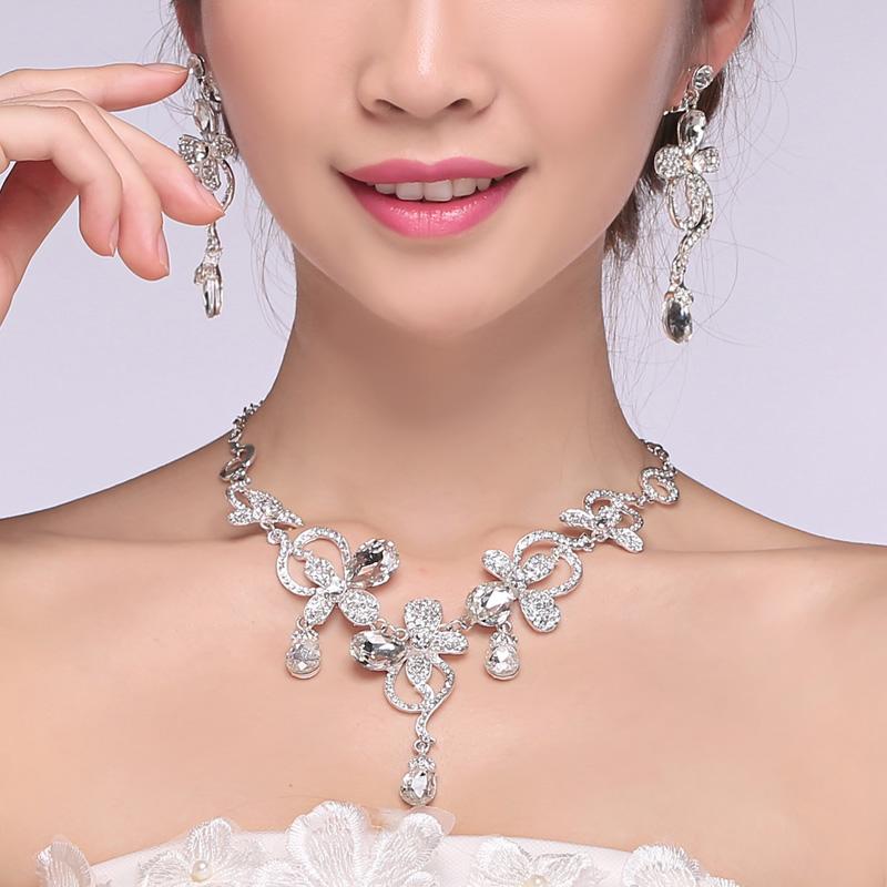 Второй элемент невеста аксессуары установите головной убор ожерелье, серьги свадьба аксессуары выйти замуж ювелирные изделия корейский горный хрусталь ожерелье женщина