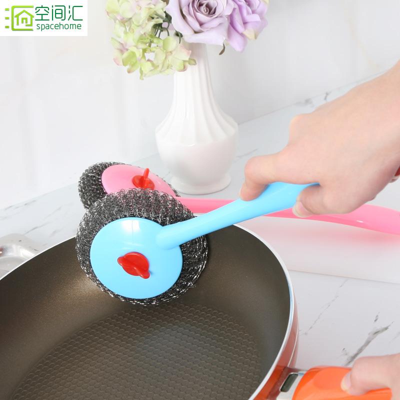 Пространство обмен мыть горшок щетка кухня щетка очистка щеткой горшок щетка с длинной обрабатывать провод мяч щетка щетка рукавицы палка масло