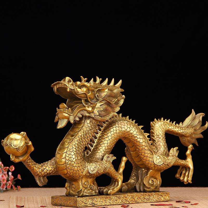 祥泰家開光純銅生肖龍擺件風水家居書房裝飾品工藝品銅龍大號擺設