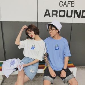 实拍日韩风个性两条杠中长袖情侣装短袖t恤上衣9525
