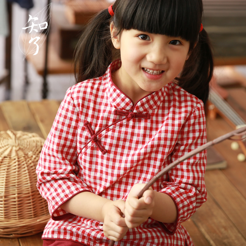 知了童装 春款女童民国风棉麻衬衫裙裤中式学生套装夏装 K2146