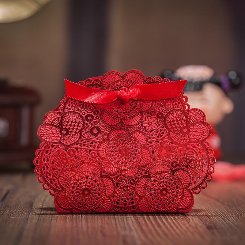 (用1元券)唯思美结婚喜糖盒 婚礼纸喜糖盒子 红色中国风2019 烫金镂空个性