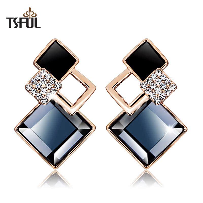 Tsful кристалл Стад Серьги являются гипоаллергенные серьги моды квадратных угловой женский Корейский серьги подарок ювелирные изделия